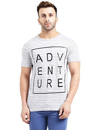 REALM Men Light Mellange Adventure Printed Round Neck T Shirt