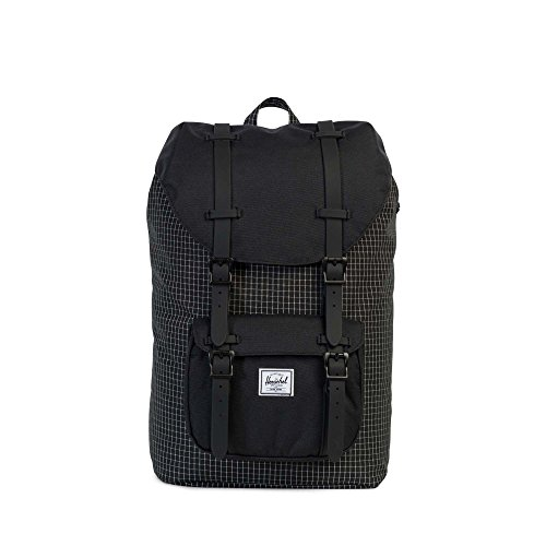 Herschel Supply Co. Little America Mid-Volume, Black Grid/Black Rubber