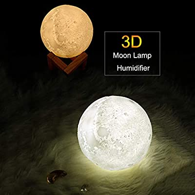 880ml Air Humidifier 3d Moon Lamp Light Usb Ultrasonic Humidificador Night Cool Mist Purifier With Wood Stand Amazon Com Au Home