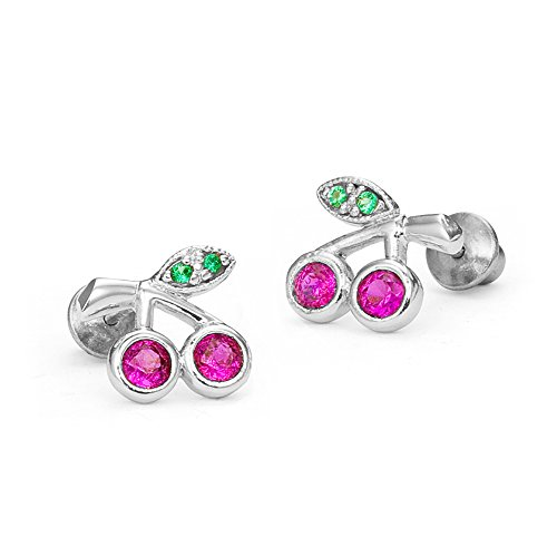 925 Sterling Silver Rhodium Plated Red Cherry Cubic Zirconia Screwback Baby Girls Earrings