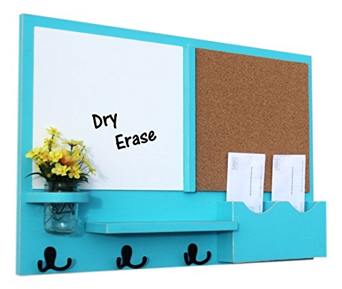 (Legacy Studio Decor Message Center with White Board & Cork Board Letter Holder Coat Rack Key Hooks (Distressed, Turquoise))