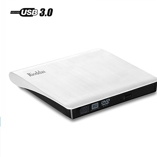 Rioddas External Cd Drive, USB 3.0 Portable CD/DVD +/-RW Drive Slim DVD/CD Rom Rewriter Burner Super High Speed Data Transfer for Laptop Desktop Pc Windows and Linux Os Apple Mac MacBook Pro