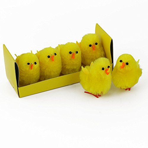 WEWILL Adorable Fluffy Yellow Chenille Chicks Easter Decoration for Children, Pack of 4, 1 4/5-Inch
