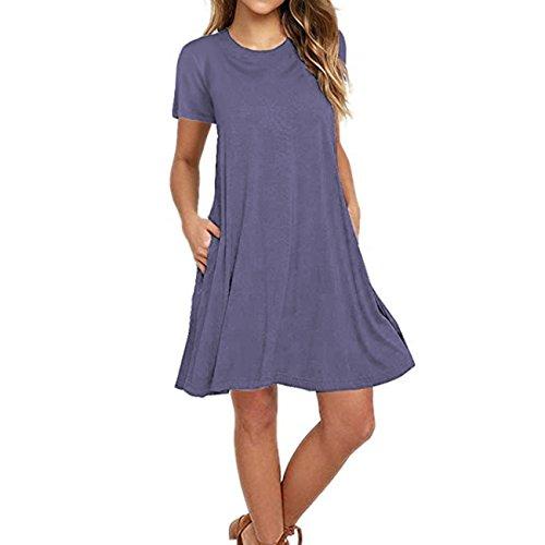 Cotton Shirt Dress Grays - Naokenu Women Short Sleeve Swing Dress with Pockets Casual Loose T-Shirt Dress(L,Purple Gray)