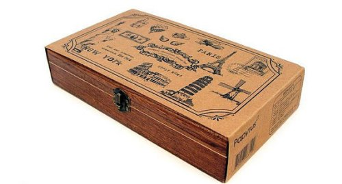Wooden Rubber Stamp Box Set - Travel Around The World - 15 Pcs (Italy Rubber Stamp)