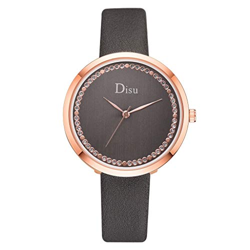 (Watches for Women,Ladies Classic Casual Thin Wrist Watches for Women Brand Disu Analog Quartz Watch with Leather Band(Gray,Gifts for Goddess))
