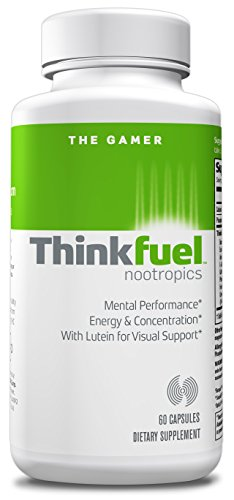 Thinkfuel For Gamers | Nootropic - Dopamine Stack to Boost Mental Performance, Energy Levels & Improved Vision w/ DMAE, Ginkgo Biloba, Green Tea Leaf, Lutein and Caffeine. (60 Capsules)