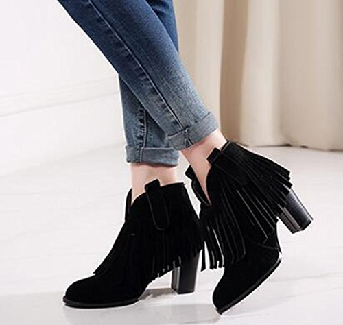 CHFSO Womens Stylish Fully Fur Lined Waterproof Tassel Zipper Mid Stacked Heel Ankle Winter Warm Boots Black R2cLnSbdBt