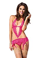 Leg Avenue Lace Garter Dress and Crotchless Lace G-String (2 Piece), Pink, Medium/Large