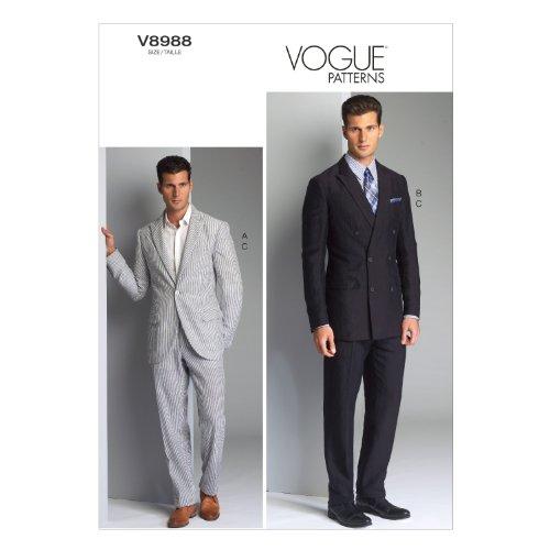 Vogue Patterns V8988MUU Men's Jacket and Pants Sewing Template, Size MUU (34-36-38-40) - Mens Jacket Patterns