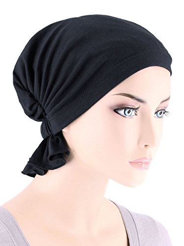 Abbey Cap Women's Chemo Hat Beanie Scarf Turban Headwear for Cancer Blended Knit Raven Black
