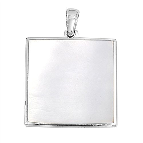 Sterling Silver Flat High Polish Square Pendant Simulated Mother of Pearl ()