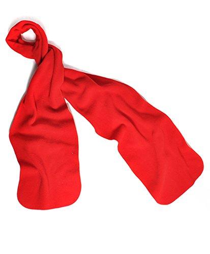 Unisex Fleece Scarf (Nollia Solid Color Fleece Unisex Winter Scarf (Red)