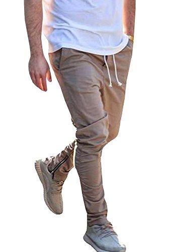 JeanewPole1 Mens Casual Jogger Pants Cotton Active Elastic Waist Running Sports Trousers (Medium, Khaki)