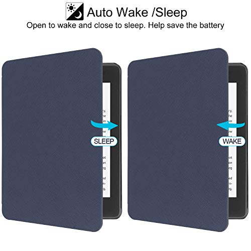 WALNEW Case Fits Kindle Paperwhite 10th Generation 2018 Protective Slim PU Leather Case Smart Auto Wake/Sleep Cover Compatible Kindle Paperwhite 10th Gen 2018 Released (B-Navyblue)