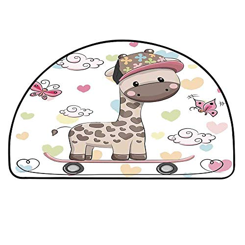 - YOLIYANA Kids Doormat,Cute Cool Giraffe Wearing Cap on a Skate Board with Butterflies Fun Colorful Hearts Print Decorative Entryway Mat,17.7