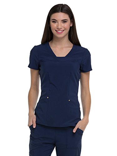 HeartSoul Love Always Women's V-Neck Solid Scrub Top Small Navy (Heartsoul Scrubs)