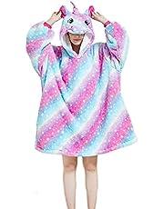 Oversized Hoodie Blanket Sweatshirt, Super Warm Comfy Sleep Throw Blanket, Ultra-Soft Wearable Blanket with Cut Animals Hood for Adults and Kids,Girls