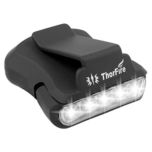 ThorFire Cap Hat Light 5 LED Headlamp Rotatable Ball Cap Visor light Clip on Hat Light Hands Free for Hunting Camping Fishing