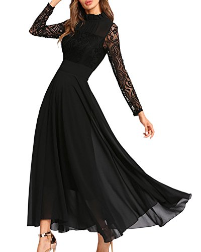 Aofur Women's Long Sleeve Chiffon Maxi Dresses Casual Floral Lace Evening Cocktail Party Long Dress (X-Large, Black)