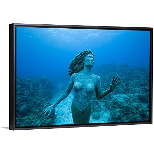 Paul Souders Floating Frame Premium Canvas with Black Frame Wall Art Print Entitled Cayman Islands, Grand Cayman Island, Mermaid Sculpture in Shallow Coral Reef 48