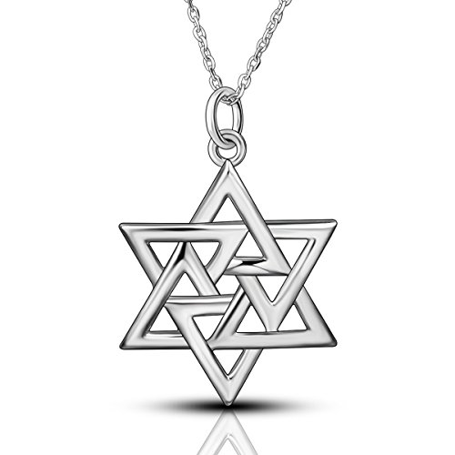 - AEONSLOVE 925 Sterling Silver Classic Megan Star of David Pendant Necklace, Women Men Gorgeous 18'' Chain Jewelry