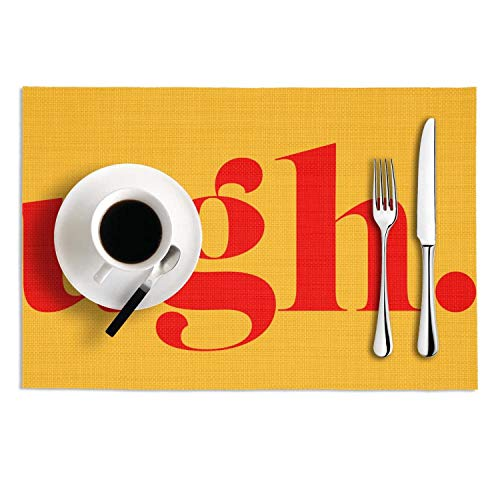 - MAD DAFGA Ugh.Letter red Letter Print PVC-Set of 2 Stain Resistant Placemats Washable Tablemats