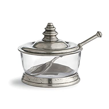 Arte Italica Tavola Covered Bowl with Spoon, Pewter