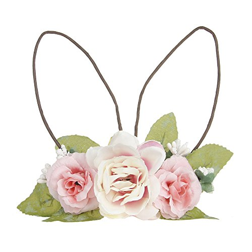 Floral Bunny - DreamLily Baby Girls Flower Crown Spring Bunny Headband Woodland Floral Head Piece for Toddler BB14 (Pink)