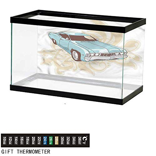 bybyhome Fish Tank Backdrop Cars,Classical Sports Car Retro,Aquarium Background,36