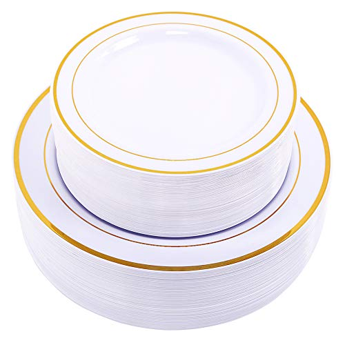 60PCS Heavyweight White with Gold Rim Wedding Party Plastic Plates,Dinnerware Sets,30-10.25inch Dinner Plates and 30-7.5inch Salad Plates -WDF (White/Gold Rim) ()