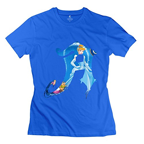 TGRJ Women's Tee - Cool Cinderella LETTER T-shirt RoyalBlue Size M