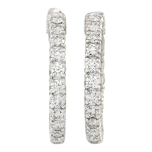 2 Carat Natural Diamond (F-G Color, VS1-VS2 Clarity) 14K White Gold Luxury Hoop Earrings for Women Exclusively Handcrafted in USA ()