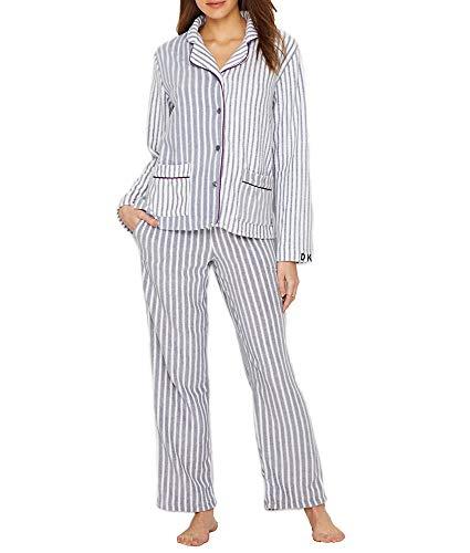 Pajama Dkny Top (DKNY Fleece Pajama Set, S, Grey Heather Stripe)