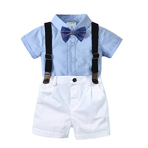 Carlatar Baby Boys Gentleman Outfit Suits,Baby Boys Short Pants Set,Short Sleeve Shirt+Suspender Pants+Bow Tie (Blue, 18-24M/95)