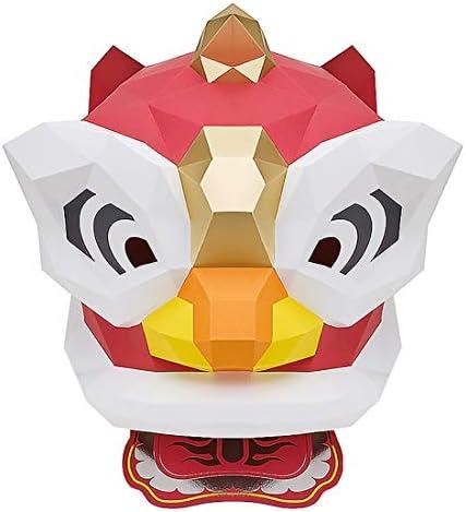 マスカレード クリエイティブ中国獅子舞帽子DIYCOSマスク素材ペーパークラフト手作りのハロウィンパーティーはマスカレード男性と