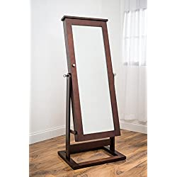 Hives and Honey Tyler Wooden Walnut Jewelry Armoire, Mirror, Cheval Pinboard