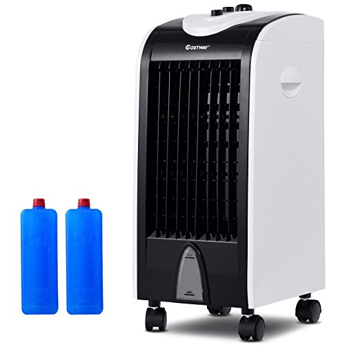 COSTWAY Evaporative Air Cooler with Fan & Humidifier Portable Bladeless Quiet Electric Fan with Filter Knob Control(24' H)