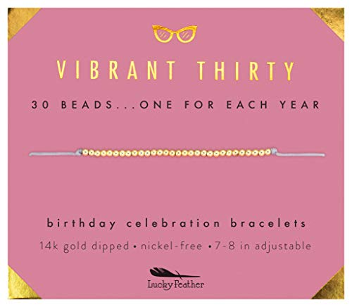 Lucky Feather 30th Birthday Gifts for Women - Vibrant Thirty 14K Gold Dipped Beads Bracelet on Adjustable 7