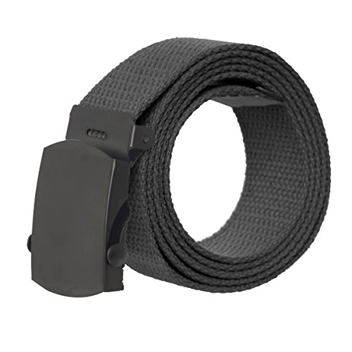 Canvas Military Style Belt with Black Buckle – Black - Designer Style Belt Buckle