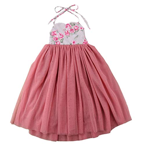 Machea 2PCS Girl Floral Dress Sling Sleeveless Baby Skirt Princess Shorts Summer Grenadine Dress Clothes Age:18M-7 Years (4-5 Years, Pink) ()