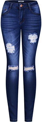 2LUV Pantalones de jean oscuro, ajustados, con rasgaduras, 5bolsillos, elastizado, para mujer