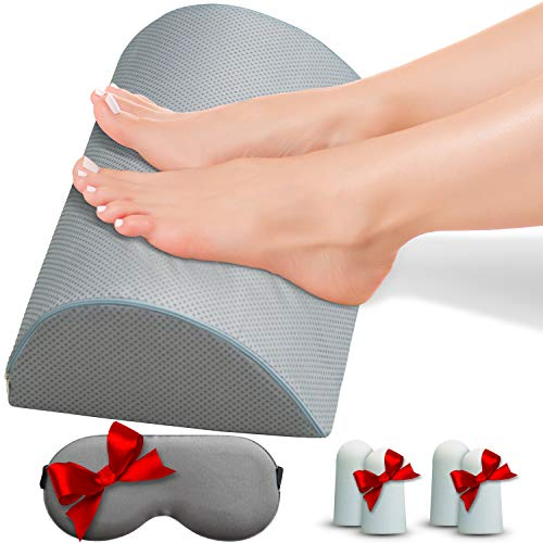 - Ergonomic Foot Rest Cushion Under Desk for Home or Office. Encourage Movement for Healthy Active Sitting and Foot Massager. Non-Slip, Gray, Dirt Repellent Fabric Covers Entire Resilience Foam Pillow.