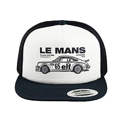 GarageProject101 1976 Le Mans Porsche 911 RSR Baseball Mesh Cap Snapback Trucker Hat, White / Navy, One Size