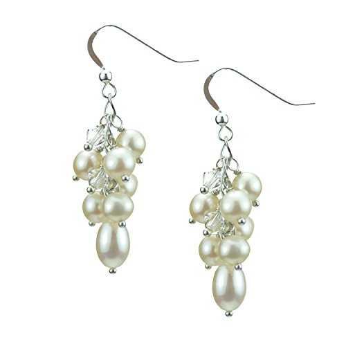 (Pearl Cluster Earrings on Sterling Silver Wires)