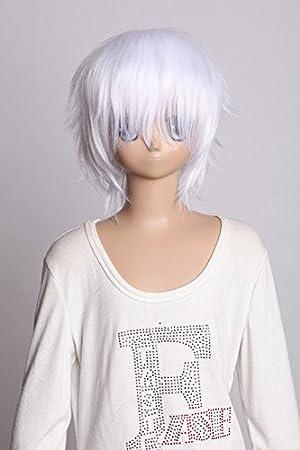Kawaii-Story W DE 01 – 1001 Blanco White Corta 35 cm Bob Cosplay Peluca