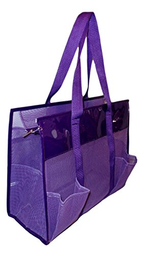 Mesh Shopper Utility Beach Bag Zipper Organizing Tote bag (Purple) ()