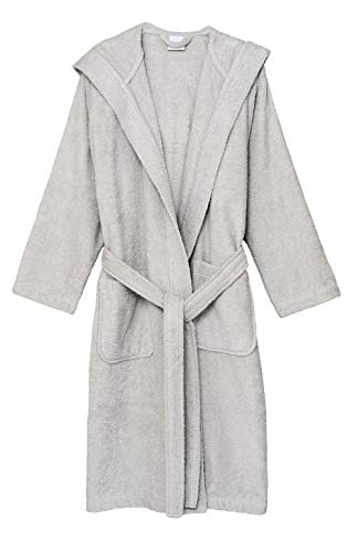 TowelSelections Women's Hooded Robe, Cotton Terry Cloth Bathrobe Medium Glacier Gray