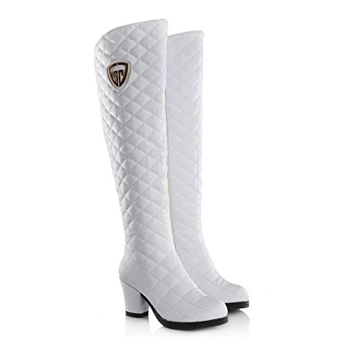 PU White Heels Material with Heels Soft Rough Allhqfashion Women's High Boots HqfA5awx