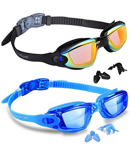 EverSport Swim Goggles, Pack of 2 Swimming Goggles, Swim Glasses No Leaking Anti Fog UV Protection for Adult Men Women Youth Kids Child, Watertight (Blue& Black with Orange Lens)